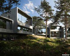 Tallbacken is a new Scandinavian housing concept located in the forest outside of Stockholm. The concept is aimed at couples and families of mixed ages who want to live close to nature, but still around the city. 3d Architectural Visualization, Architecture Visualization, Architecture Design, Forest Village, Forest House, Scandinavian Architecture, Scandinavian Home, Rehabilitation Center Architecture, Habitat Collectif