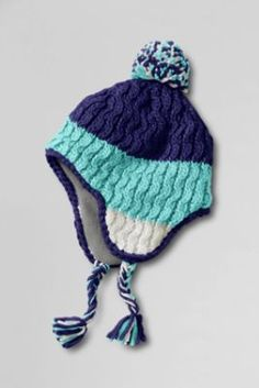 2d8260cc4c9 Girls  Color Block Cable Trapper Hat from Lands  End