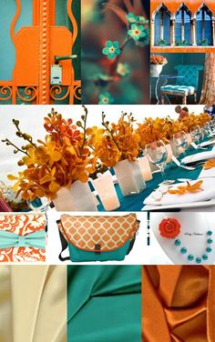 Orange and Teal Inspiration Board Teal Color Schemes, House Color Schemes, Paint Schemes, House Colors, Persimmon Wedding, Home Decor Inspiration, Color Inspiration, Teal Orange, Orange Flowers