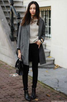 Shop this look on Lookastic:  https://lookastic.com/women/looks/coat-cowl-neck-sweater-skinny-jeans-ankle-boots-satchel-bag/6357  — Grey Cowl-neck Sweater  — Charcoal Coat  — Black Leather Satchel Bag  — Black Skinny Jeans  — Black Leather Ankle Boots