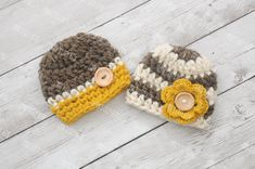 Twin hat set newborn twins outfit newborn photo by emmascozyattic