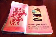 Elena Rogue document your dinner, wreck this journal page ideas