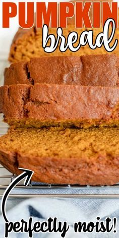 Pumpkin bread is a fall staple! Made with pure pumpkin and spice with cinnamon it will no doubt be your favorite new treat.