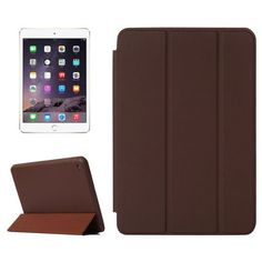 For+iPad+mini+4+Brown+Solid+Color+Leather+Case+with+Holder+&+Sleep/Wake-up+Function