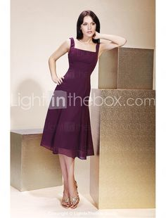Available in silver A-line Square Knee-length Chiffon Bridesmaid/ Wedding Party Dress - USD $ 77.59