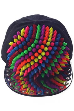 #Romwe Colorful Rivets Black Snapback Cap