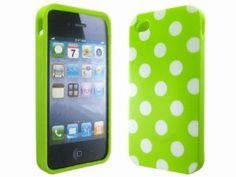 Polka Dots Green Soft TPU Gel Case Cover Skin for iPhone 4 4G 4S,$2.40