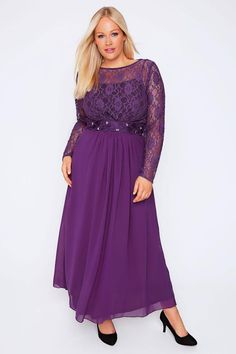 87918d2ff8 Purple Lace Maxi Dress With Embellished Waist Elegant Ball Gowns
