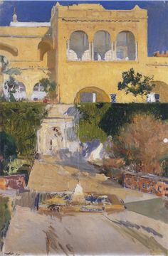 The Athenaeum - Afternoon sun at the Alcazar at Seville (Joaquin Sorolla y Bastida - ) Landscape Sketch, Urban Landscape, Abstract Landscape, Landscape Paintings, Spanish Painters, Spanish Artists, Alcazar Seville, Madrid, Traditional Paintings