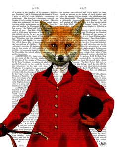 Fox Hunter 2, Portrait, Dictionary Art Print Hunting wall art wall decor Wall Hanging Fox Picture, Home Decor, Fox Illustration