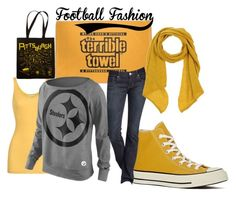 Black and yellow by jessica-humbert on Polyvore featuring iHeart, Express, Converse, Maptote, Rossella Carrara and steelers