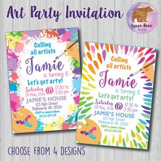 Free Paint Party Invitations Free Birthday Invite Friends And - Paint party invitation template free