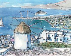 Panorama von Mykonos Griechenland Kunstdruck aus einer original Aquarell
