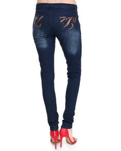 Love this Destructed Skinny Jean W/Beaded Back Pockets by. on DrJays. Take a look and get off your next order! 9 And 10, Pant Jumpsuit, Jeans Size, Take That, Skinny Jeans, Pure Products, Clothes For Women, Pants, Pockets