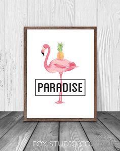 Flamingo Print Flamingo Art Tropical Print Bird by FoxStudioCo