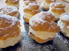 German Profiteroles or Windbeutel in German is a delicious pastry with a creamy filling. The dough is called Brandteig, a special dough but not so difficult to make.