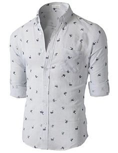 H2H Mens Wrinkle Free Slim Fit Button-down Short Sleeve Shirt ...