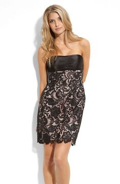 Adrianna Papell Black Nude Lace Strapless Sheath Dress