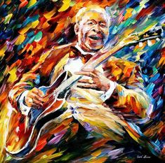 """Bb King — Blues Musician Portrait Oil Painting On Canvas By Leonid Afremov. Size: 30"""" X 30"""" Inches ("""