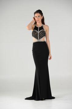 fc02ddef823 Style 7528 - POLY USA - Black long dress with Cutouts.