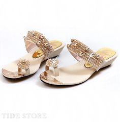 #Rhinestone #Slipper #Heel Tempting Rhinestone Gloden PU Low Heel Sandals