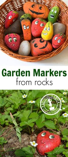 How to Make Garden Markers from Rocks: Simple, cheap and cute craft to make in preparation for gardening this spring. Fun to do with kids or friends! #artprojects