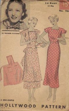 1930s Hollywood Sewing Pattern Dress Apron by AdeleBeeAnnPatterns, $34.00