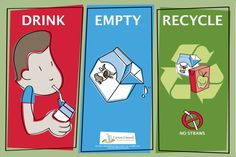 Cartons can go in the regular recycling bin here in San Diego County. Just empty them, remove any straws or caps and toss them in!