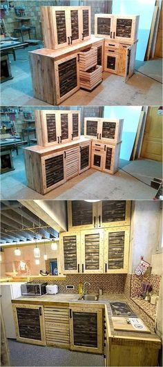 Another idea of kitchen furnishing for those who like to place wood pallet kitchen cabinets with the combination of sober colors, painting the pallets is a choice and a person can use any combination of colors to make the plan attractive.