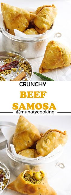 Crunchy Punjabi Samosa, the Samosa filling is spiced beef. This Indian snack recipe will become your favorite. Learn how to make Crunchy Beef Samosa. www.munatycooking.com | @munatycooking