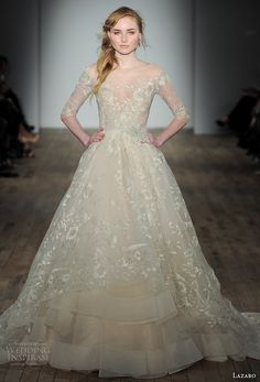 lazaro fall 2017 bridal off the shoulder illusion straight across neck full  embellishment champagne color off 0a39ec1a756c