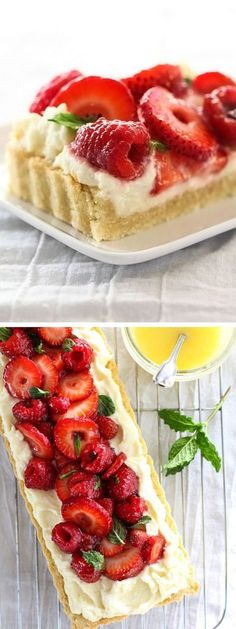 Berry Tart With Lemon Curd Mascarpone is a light, tangy dessert favorite just replace the sugar Lemon Desserts, Lemon Recipes, Tart Recipes, Just Desserts, Sweet Recipes, Delicious Desserts, Baking Recipes, Recipes Using Lemon Curd, Irish Desserts