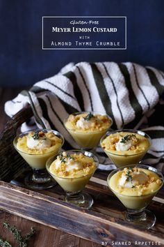 Meyer Lemon Custard with Almond Thyme Crumble and Honey Mascarpone | sharedappetite.com {Gluten-Free}