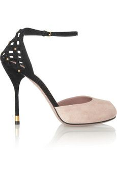 GUCCI  Two-tone suede sandals