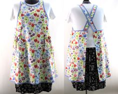 The Apron is a slip on with no ties. It wears like a comfy jumper. The pockets are extra large and ruffled to help hold things inside. You can