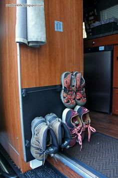 Roadtrek Modifications/ Mods, RV Upgrades /Modificatios, Campgrounds, Class B Mods / Modifications.: Wall Mounted Shoe Storage Rack for Roadtrek Agile. - Tap The Link Now To Find Gadgets for Survival and Outdoor Camping Camper Hacks, Rv Hacks, Caravan Hacks, Life Hacks, Caravan Decor, Diy Caravan, Hacks Diy, Life Tips, Travel Hacks