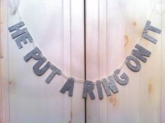 He Put A Ring On It Glitter Banner -- Bridal Shower or Bachelorette Party Decoration / Photo Prop - DIY Bachlorette Party, Bachelorette Party Decorations, Bachelorette Banner, Bachelorette Parties, Wedding Events, Our Wedding, Dream Wedding, Weddings, Pam Pam