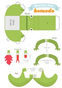 Build Your Own 3d Komodo Papertoy With This Print Out And Make Paper Toy Template