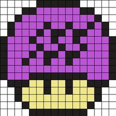 Zodiac Aquarius Mushroom Perler Bead Pattern perler,hama,square pegboard,video games,nintendo, super mario bros,mushroom,