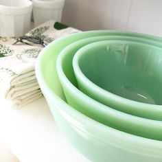 "376 Likes, 2 Comments - Freckled Hen Farmhouse (@thefreckledhenfarmhouse) on Instagram: ""From mixing to serving, our trio of jadeite bowls are a beautiful yet hardworking addition to the…"""