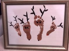 Materials: brown, black, and red paint white paper frame (optional) Directions: 1. Paint a foot of each family member with brown paint and press on the paper. Let dry. 2. Add antlers, eyes, and a nose with black paint. Optional: Paint the noses of the tiniest reindeer red for Rudolph! 3. I recommend adding the year and the family last name to your print.