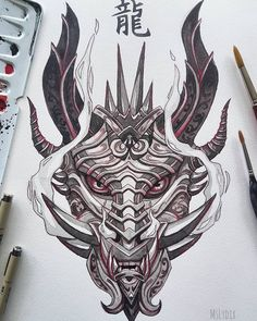 The dragon themed Oni mask commission is finished 🎉 Probably one of the coolest commission I've got so far! And also: I'll be on vacation… old school frases hombres hombres brazo ideas impresionantes japoneses pequeños tattoo Oni Tattoo, Samurai Tattoo, Japan Tattoo Design, Tattoo Design Drawings, Tattoo Sketches, Japanese Tattoo Art, Japanese Tattoo Designs, Dragon Tattoo Designs, Tattoo Designs Men