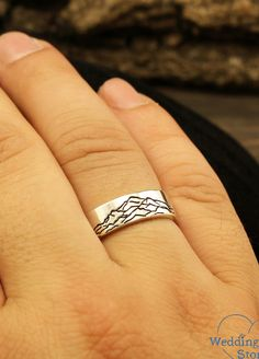 Mountain sterling silver wedding band by WeddingRingsStore. Peak wedding ring, 6mm wedding band, Simple ring, Plain band, Smooth ring, Lonely mountain ring #silverring #jewellery #Diamondring #vintagering