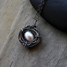 Bird Nest Necklace One Egg Oxidized Sterling Silver by CircesHouse, $38.50