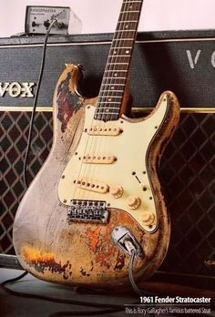 Vintage 1961 Fender Stratocaster ~ This is Rory Gallagher's famous battered Sunburst Strat! Cool!
