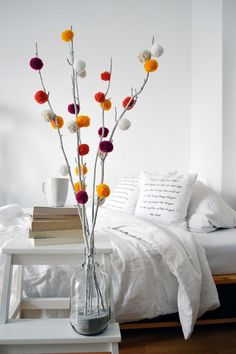 Flower art diy pom poms ideas for 2019 Diy Crafts Hacks, Diy Home Crafts, Decor Crafts, Diy Room Decor, Kids Crafts, Easy Crafts, Diwali Diy, Diwali Craft, Pom Pom Tree