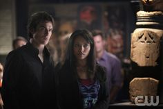 """The Vampire Diaries -- """"We All Go a Little Mad Sometimes"""" -- Pictured (L-R): Ian Somerhalder as Damon and Kat Graham as Bonnie -- Image Number: VD406b_0120r.jpg -- Photo: Annette Brown/The CW -- © 2012 The CW Network, LLC. All rights reserved."""