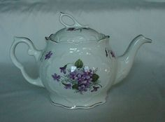 LOVELY VINTAGE CROWN DORSET TEA POT PURPLE LAVENDER FLORAL GOLD TRIM GREAT FORM  #CrownDorsetStaffordshire