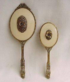 Vintage Gold Ormolu Dresser Vanity Set Mirror by Kissisjustakiss