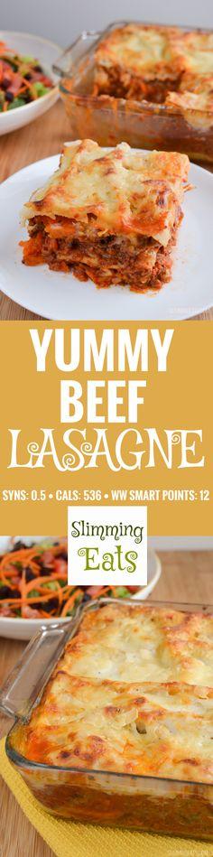 Slimming Eats Yummy Beef Lasagne - gluten free, vegetarian, Slimming World and…